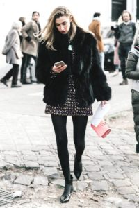 Tweed Dress and Fur Coat