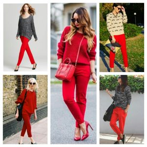 what to wear with red pants for work