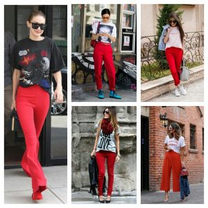 what to wear with red pants in winter