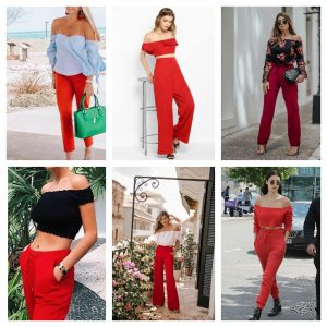 what shirts to wear with red pants for girls