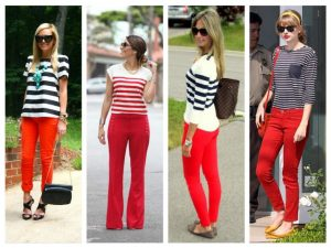 what tops to wear witth red pants