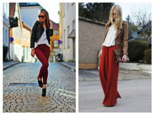 what to wear with red pants in fall